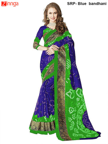 SRP FASHION-Women's Nice Looking Bhagalpuri Silk Sarees With Blouse - SRP-Blue bandhani