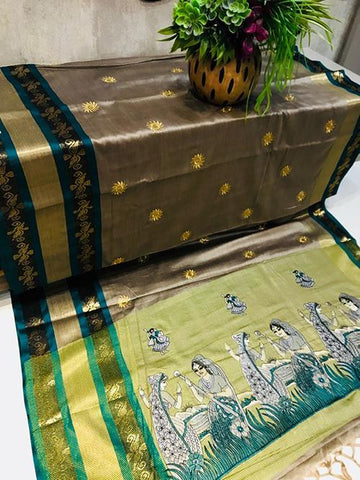 Beige Color Pure Silk Cotton Saree - SRP-ChaitraBeige