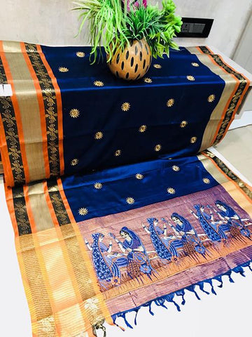 Blue Color Pure Silk Cotton Saree - SRP-ChaitraBlue