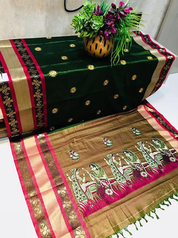 DarkGreen Color Pure Silk Cotton Saree - SRP-ChaitraDarkGreen