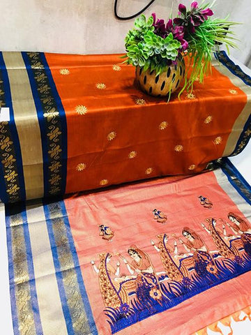 Orange Color Pure Silk Cotton Saree - SRP-ChaitraOrange