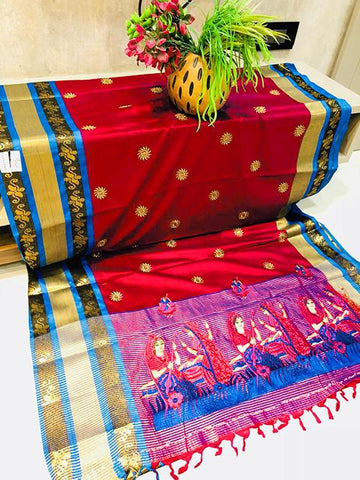 Red Color Pure Silk Cotton Saree - SRP-ChaitraRed