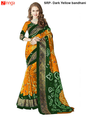 SRP FASHION-Women's Nice Looking Bhagalpuri Silk Sarees With Blouse - SRP-Dark Yellow bandhani