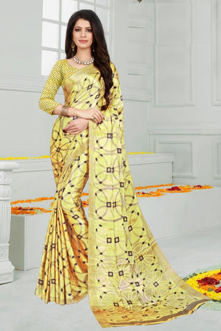 Lime Yellow Color Mul Mul Satin Saree - SRP-Dharati-1 Lime Yellow