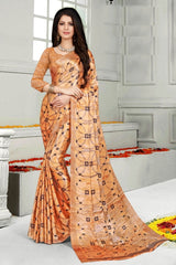 Buy Orange Color Mul Mul Satin Saree