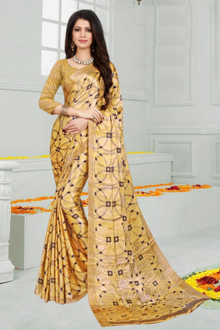 Yellow Color Mul Mul Satin Saree - SRP-Dharati-1 Yellow
