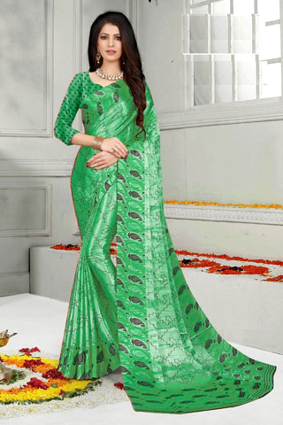 Green Color Mul Mul Satin Saree - SRP-Dharati-2 Green