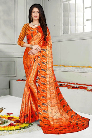 Orange Color Mul Mul Satin Saree - SRP-Dharati-2 Orange