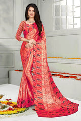 Buy Pink Color Mul Mul Satin Saree