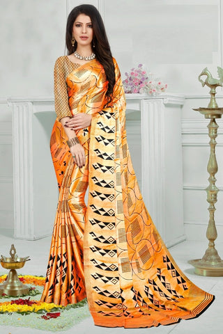 Orange Color Mul Mul Satin Saree - SRP-Dharati-3 Orange
