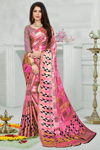 Pink Color Mul Mul Satin Saree - SRP-Dharati-3 Pink