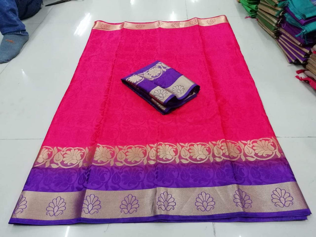 Buy Pink and Purple Color PolySilk Saree