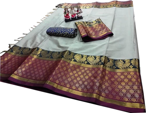 Silver Color Pure Soft Poly Silk Dobby Jacquard Saree - SRP-GangotriSilver