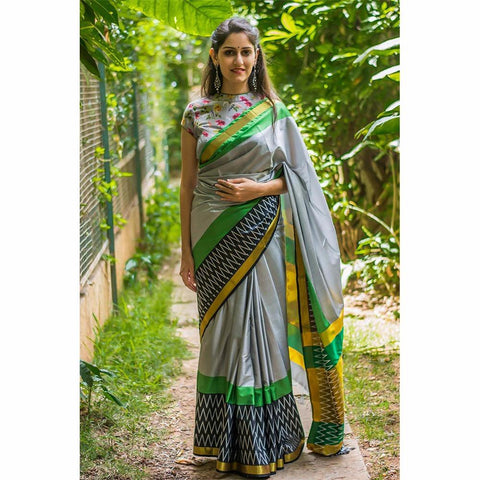 Grey Color Strawberry Silk Saree - SRP-Gray Zigzag