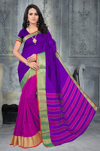 Pink and Purple Color Poly Cotton Silk Saree - SRP-Half Pink Purple