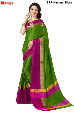 SRP FASHION-Pista Color Cotton Silk Printed Saree With Blouse - SRP-Himansi Pista