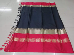 Buy Black Color Pure Soft Doddy Jacquard Silk Saree