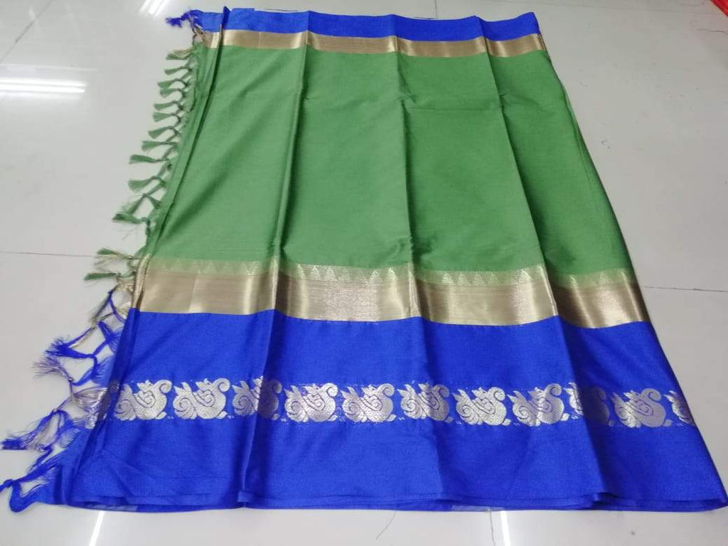 Buy Green Color Pure Soft Doddy Jacquard Silk Saree