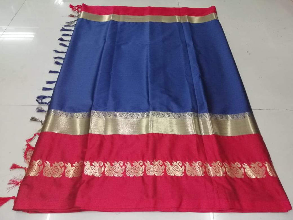Buy NavyBlue Color Pure Soft Doddy Jacquard Silk Saree