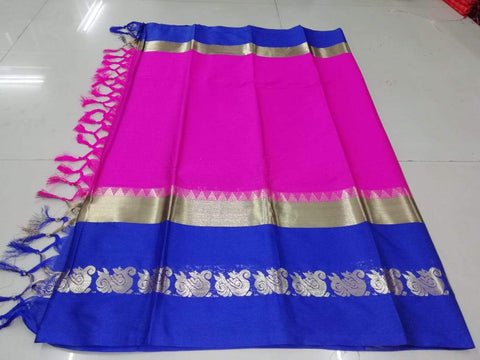 Pink Color Pure Soft Dobby Jacquard Silk Saree - SRP-Igna Print Pink