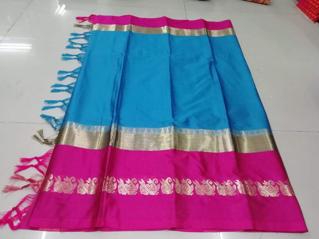 Buy SkyBlue Color Pure Soft Doddy Jacquard Silk Saree