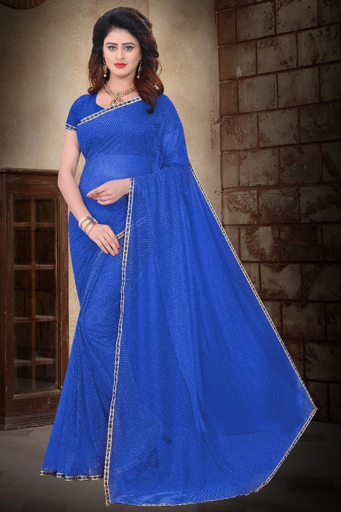 Buy Blue Color Filament Polyster Saree