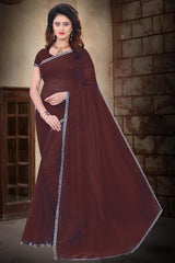 Buy Brown Color Filament Polyster Saree