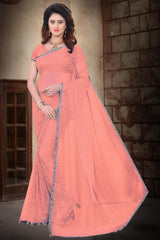 Buy Light OrangeColor Filament Polyster Saree