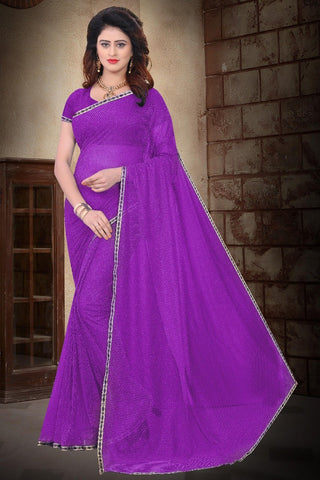Purple Color Filament Polyster Saree - SRP-Internet Checks Purple