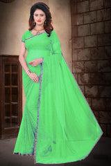 Buy Green Color Filament Polyster Saree