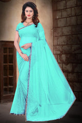 Buy SkyBlue Color Filament Polyster Saree