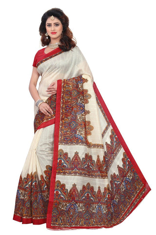 White Color Heavy Bhagalpuri Saree - SRP-Jamana white