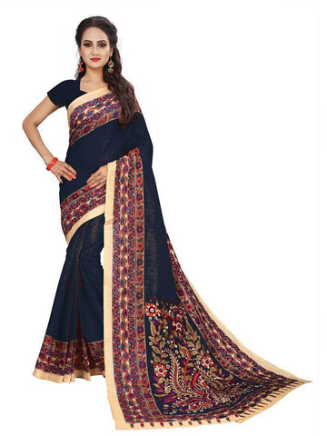 Black Color Bhagalpuri Khadi Saree - SRP-Kalamkari-01 Black