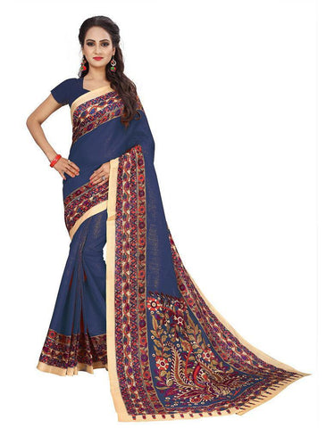 Grey Color Bhagalpuri Khadi Saree - SRP-Kalamkari-01 Gray