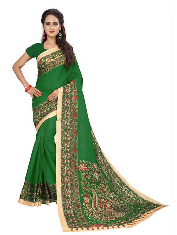 Green Color Bhagalpuri Khadi Saree - SRP-Kalamkari-01 Green