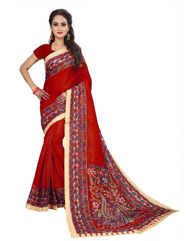 Red Color Bhagalpuri Khadi Saree - SRP-Kalamkari-01 Red