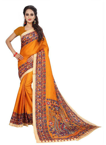 Yellow Color Bhagalpuri Khadi Saree - SRP-Kalamkari-01 Yellow