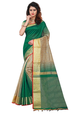Green Color Soft Poly Cotton Silk Saree - SRP-KrishaGreen