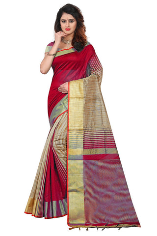 Red Color Soft Poly Cotton Silk Saree - SRP-KrishaRed