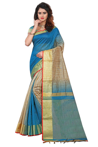 Sky Blue Color Soft Poly Cotton Silk Saree - SRP-KrishaSkyblue