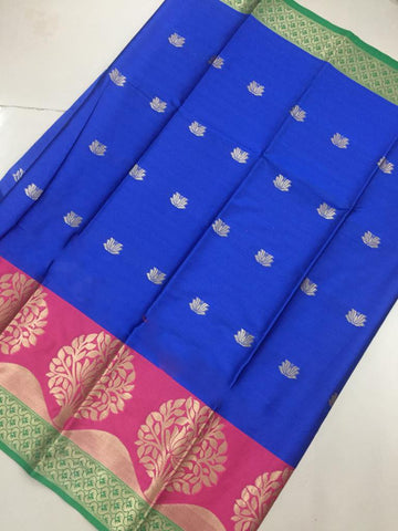 Blue Color Soft Cotton Silk Saree - SRP-KrishnaButtaBlue