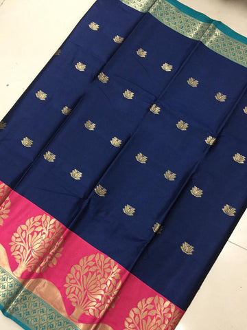 Navy Blue Color Soft Cotton Silk Saree - SRP-KrishnaButtaNevyBlue