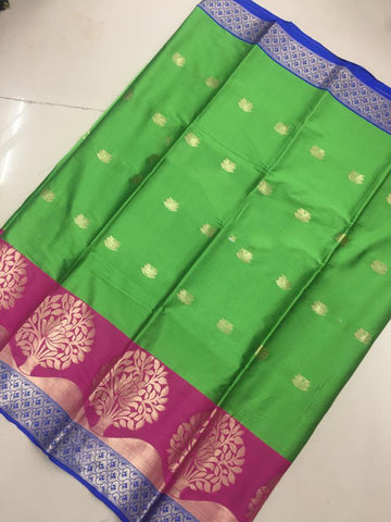 Parrot Green Color Soft Cotton Silk Saree - SRP-KrishnaButtaParrot