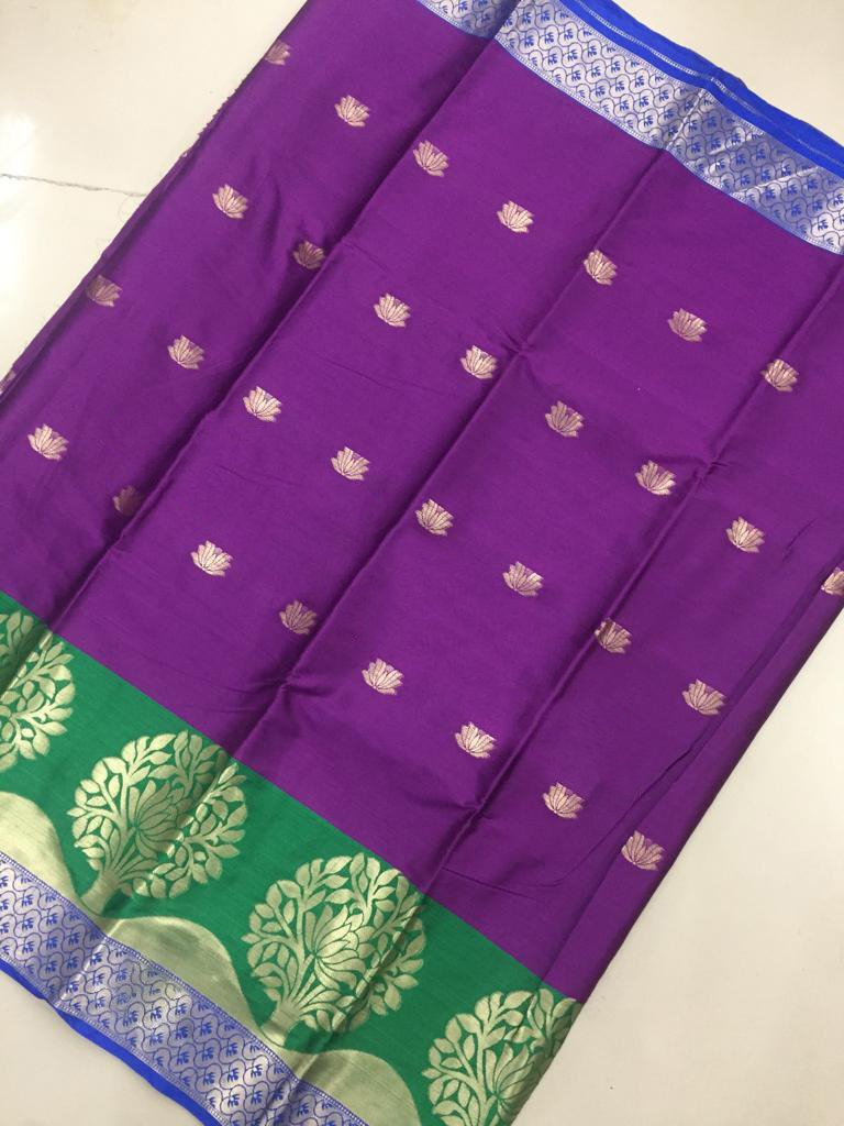 Buy Purple Color Soft Cotton Silk Saree