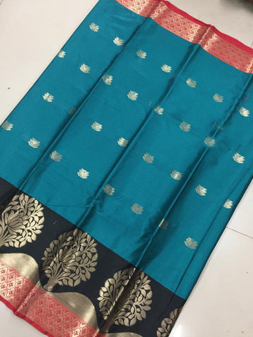 Rama Green Color Soft Cotton Silk Saree - SRP-KrishnaButtaRama
