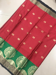 Buy Red Color Soft Cotton Silk Saree