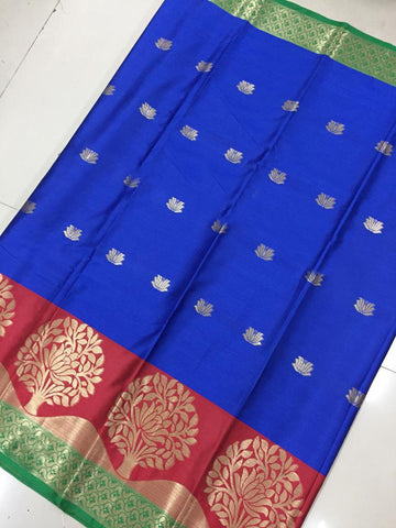 Royal Blue Color Soft Cotton Silk Saree - SRP-KrishnaButtaRoyalBlue