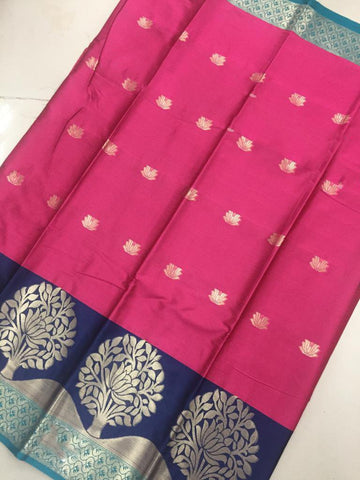 Tomato Red Color Soft Cotton Silk Saree - SRP-KrishnaButtaTameta