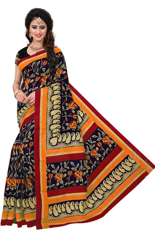 Black Color Bhagalpuri Saree  - SRP-MangoSix Black