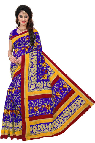 Blue Color Bhagalpuri Saree  - SRP-MangoSix Blue